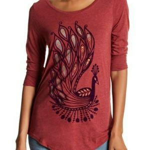 Lucky brand peacock relaxed long 3/4 sleeve tee